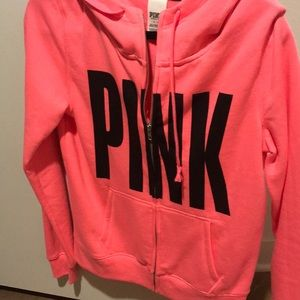 Funnel neck pink hoodie! Small!